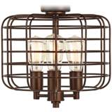 Industrial Cage Oil-Rubbed Bronze Ceiling Fan Light Kit