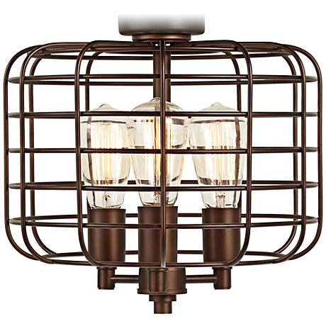 Industrial cage oil rubbed bronze ceiling fan light kit for Industrial lamp kit