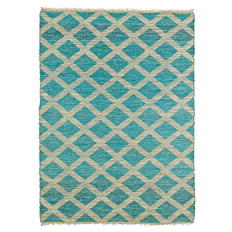 Kaleen Kenwood KEN05-91 Teal Blue Lattice Jute Area Rug