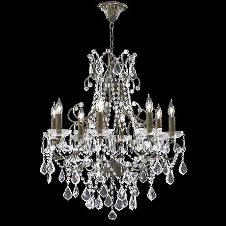"James R. Moder 8-Light 28"" Wide Bronze Crystal Chandelier"