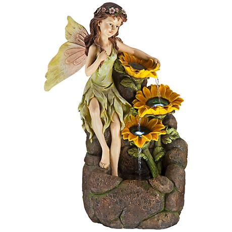 Garden Fairy with Sunflowers Floor Fountain