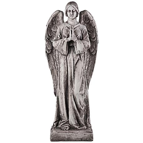 "Standing Angel 45"" High Antiqued White Outdoor Statue"