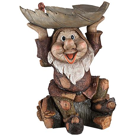 "Offerings 15"" High Gnome Bird Bath Garden Statue"