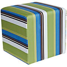 "Image by Charlie Artwork 21"" Wide Striped Ottoman"