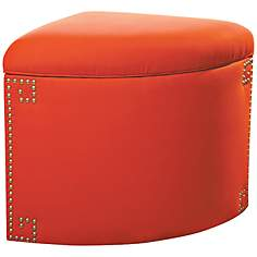 Sandy Wilson Maxum Orange Ikat Corner Storage Ottoman