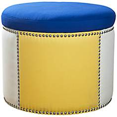 Sandy Wilson Royal Blue Fabric Storage Ottoman