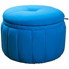Sandy Wilson Turquoise Blue Fabric Storage Ottoman