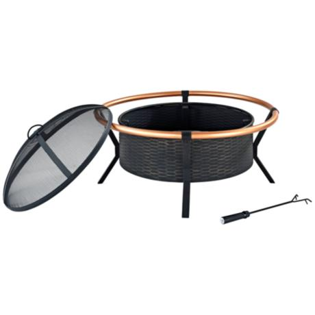Yuma Copper Ring 30 Quot Wide Black Steel Outdoor Firepit