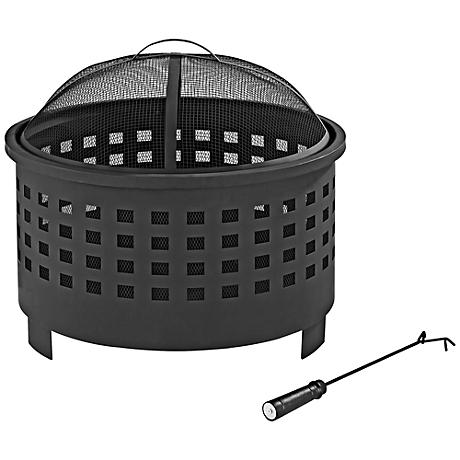 "Hudson Outdoor Basket Weave 25"" Wide Black Steel Firepit"