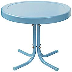 Griffith Caribbean Blue Powdercoat Round Outdoor Side Table