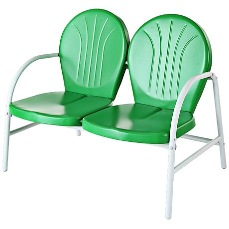 Griffith Nostalgic Grasshopper Green Outdoor Loveseat