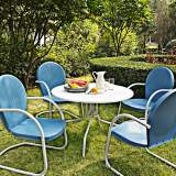 Griffith 5-Piece Sky Blue Metal Outdoor Dining Set