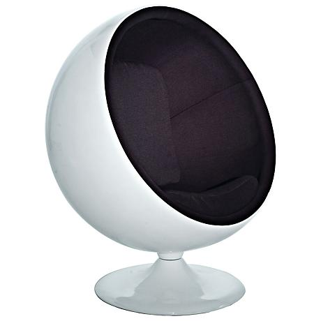Kaddur Black Fabric Modern Ball Lounge Chair