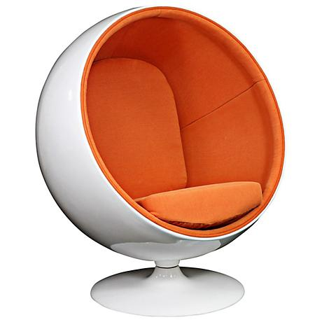 Kaddur Orange Fabric Modern Ball Lounge Chair
