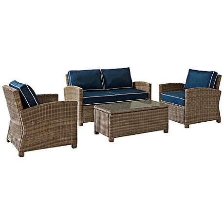 Biltmore 4-Piece Rattan Wicker Navy Outdoor Seating Set