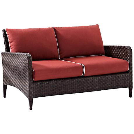 Kiawah Sangria Outdoor Wicker Loveseat