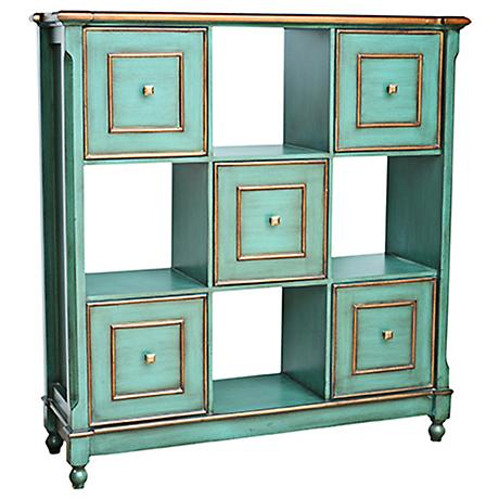 Crestview Florence Teal 5-Drawer Console Chest