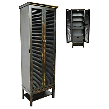 Crestview Wilmington 2-Door Tall Black Louvered Cabinet