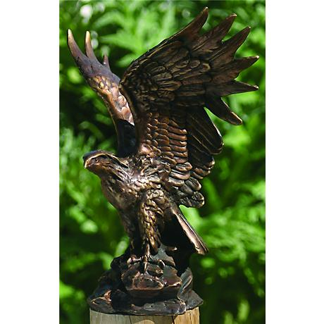 "Henri Studios Eagle Bronze 10"" High Cast Brass Statue"