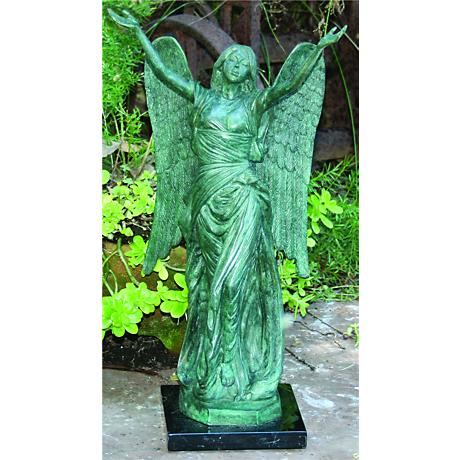 "Henri Studios Small Celestine Angel 18""H Cast Brass Statue"