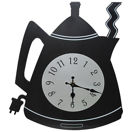 "Black Coffee Kettle 15"" High Wall Clock"