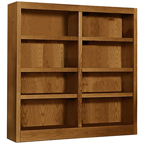 Grundy Dry Oak Double-Wide 8-Shelf Bookcase