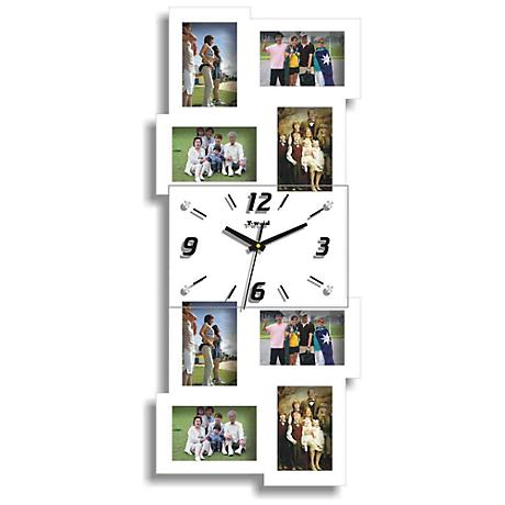 "Belington White 25 3/4"" High Clock and Photo Frame Collage"