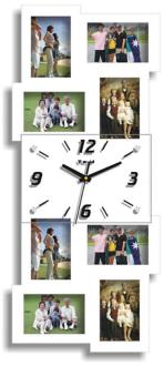 "Belington White 25 3/4"" High Clock and Photo Frame Collage (7N872)"