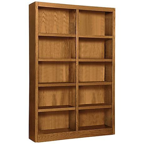 Grundy Dry Oak Double-Wide 10-Shelf Bookcase