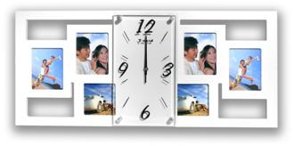 "Alzada White 25 3/4"" Wide Clock and Photo Frame Collage (7N880)"