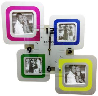 "Covelo Multi-Color 15"" Square Clock and Photo Frame Collage (7N882)"