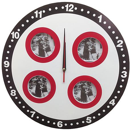 "Nelliston Brown and Red 15"" Round Wall Clock"