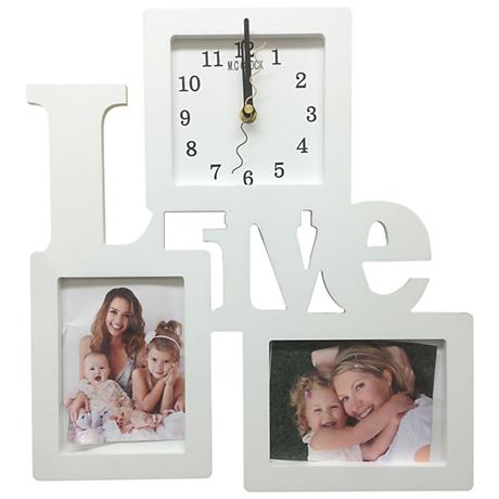 "Live 14"" High Wall Clock and Photo Frame Collage"