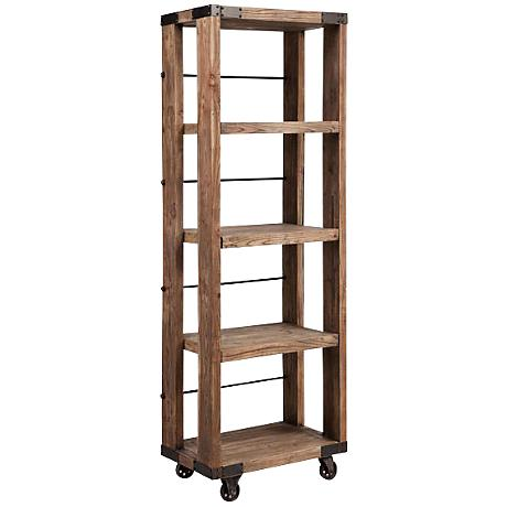 Zuo Kirkwood Distressed Wood Wheeled 4-Shelf Unit