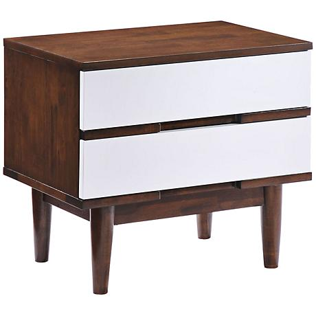 Zuo LA White 2-Drawer Walnut Nightstand