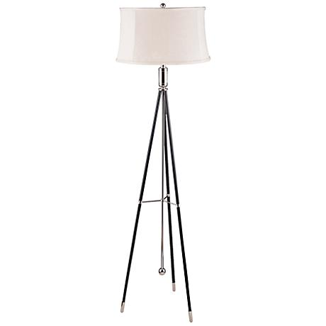 Gering Polished Nickel and Black Tripod Metal Floor Lamp