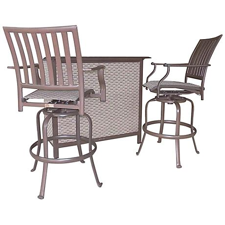 Panama Jack Island Breeze 3-Piece Patio Swivel Bar Set