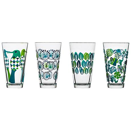 Fantasy Blue and Green 4-Piece Large Glasses Set