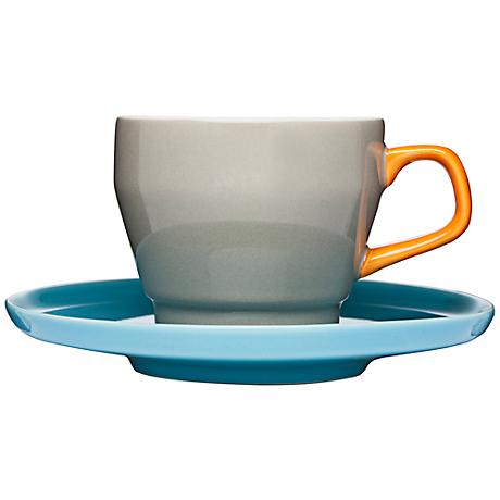 POP Brown, Orange and Turquoise Stoneware Cup with Saucer