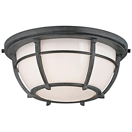 "Hudson Valley Conrad 11 3/4"" Wide Aged Zinc Ceiling Light"