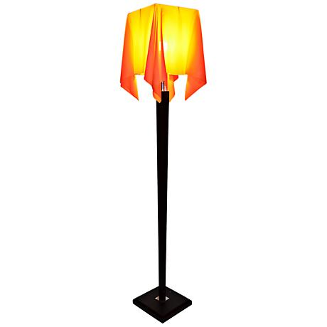 Roux Wood Floor Lamp with Nacarat Drape Shade