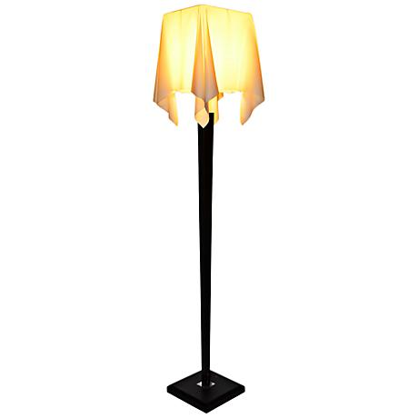 Roux Wood Floor Lamp with Ivory Drape Shade
