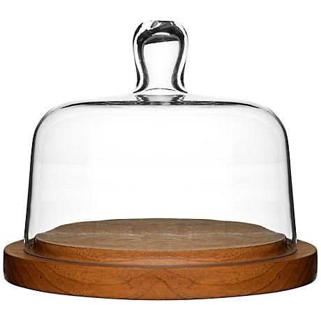 Glass Cheese Dome with Oak Base