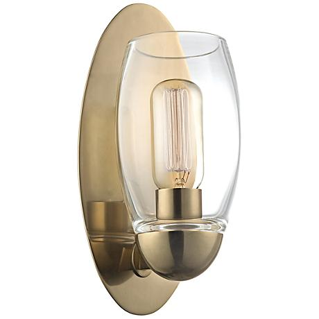 "Hudson Valley Pamelia 11"" High Aged Brass Wall Sconce"