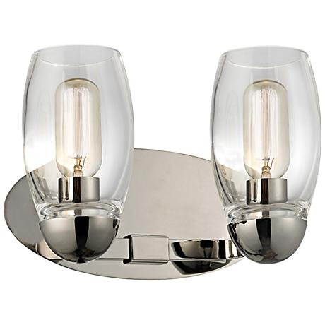 "Hudson Valley Pamelia 12"" Wide Polished Nickel Bath Light"