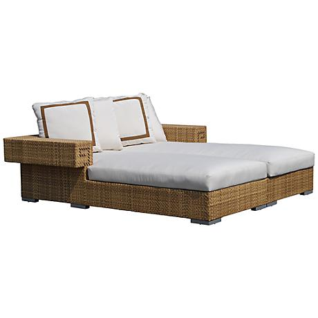 Dann Foley Hollywood Natural Wicker Outdoor Chaise Daybed