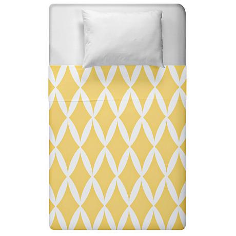Yellow Geometric Diamond Lattice Duvet Cover