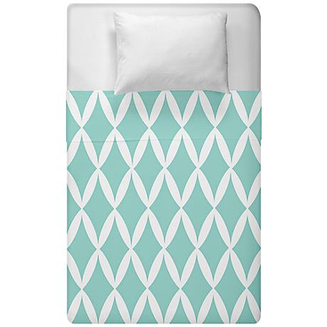 Aqua Blue Geometric Diamond Lattice Duvet Cover