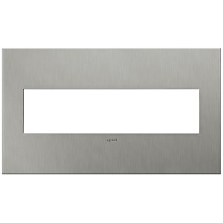 Adorne 4-Gang Brushed Stainless Steel Wall Plate