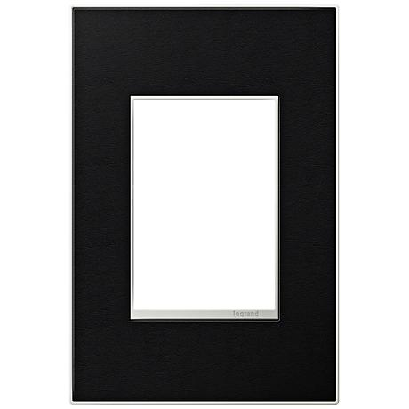 Adorne 1-Gang 3-Module Black Leather Wall Plate